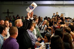Trump Throws Paper Towels at People
